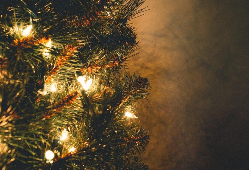 Image of a Christmas tree and its lights