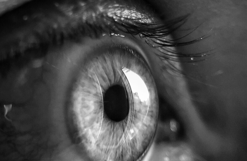 Image of a person's eye who has an intense personality