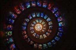 Image of a stain glass spiral representing spirituality