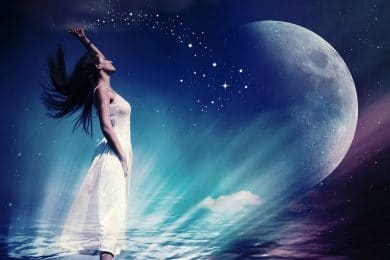 Image of a mystical empath woman looking at the stars