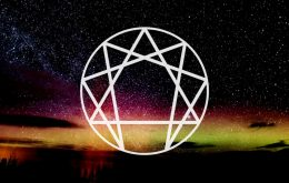 Image of starry sky with the enneagram type symbol