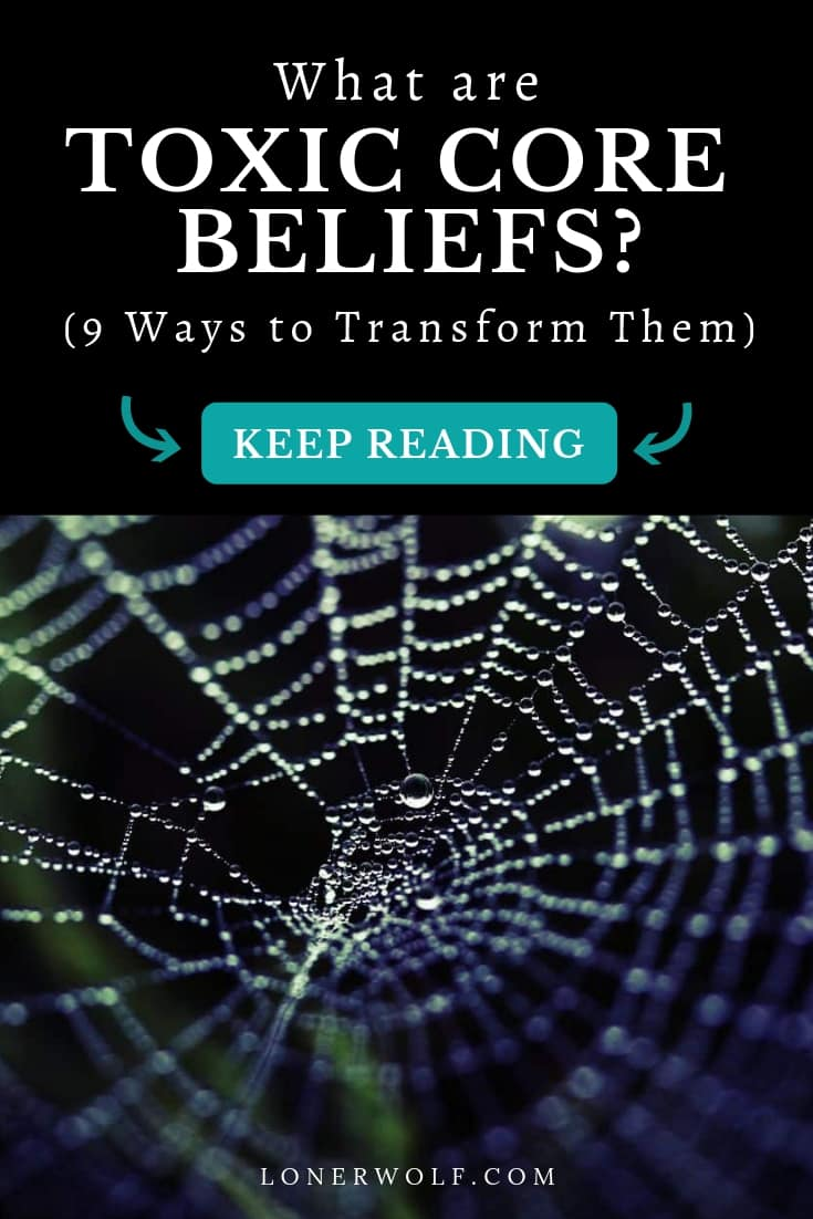 Learn how to identify, challenge, and change negative core beliefs! You\'ll also find a handy list of toxic core belief examples to make the process simple. Often we are completely unaware of what our core beliefs are and how they perpetuate our misery. Discover what your core beliefs now!  #corebeliefs #identifyingcorebeliefs
