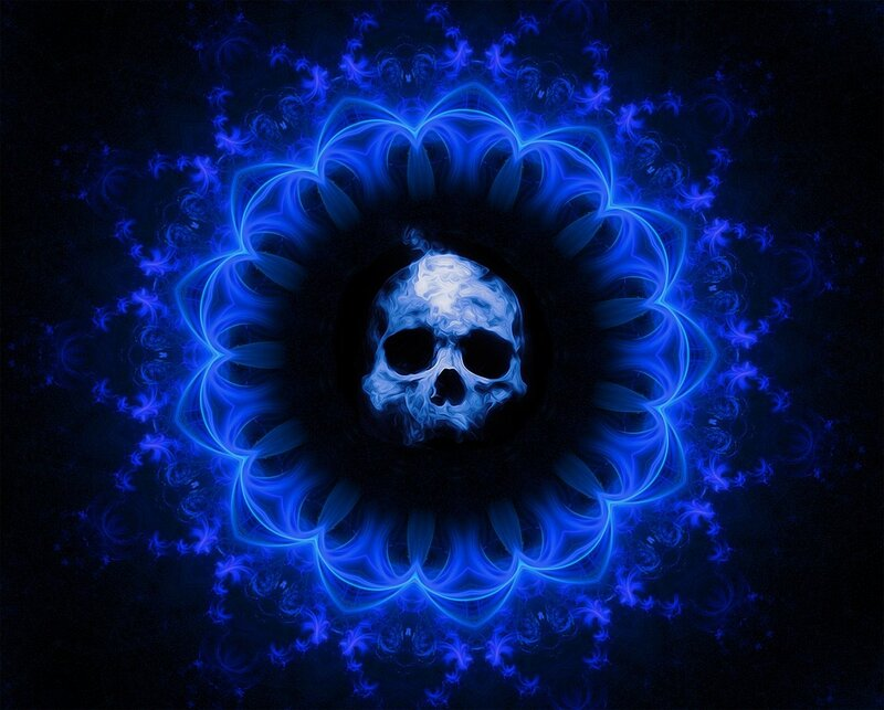 Image of a blue skull mandala symbolic of toxic core beliefs