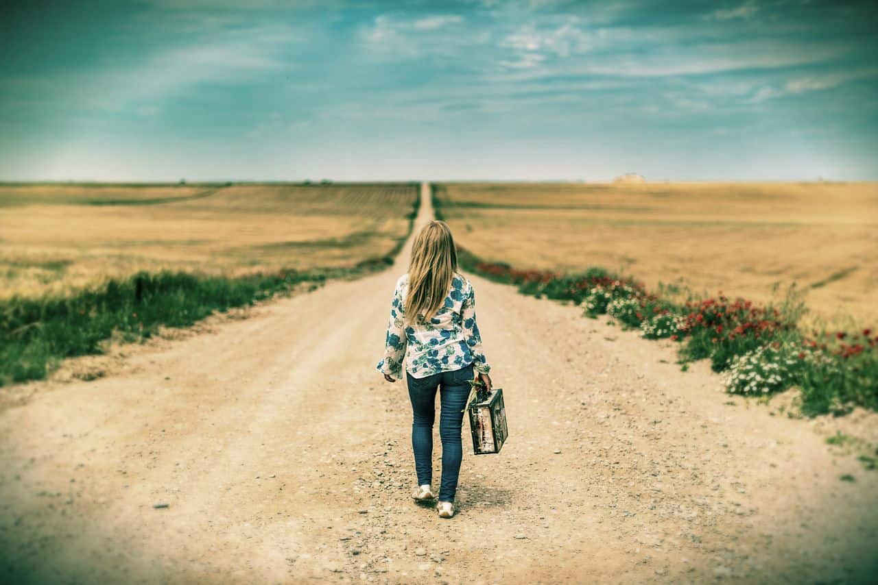 Image of a woman walking her life path
