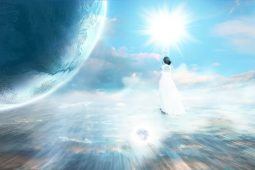 Image of lightworker woman in the celestial sky