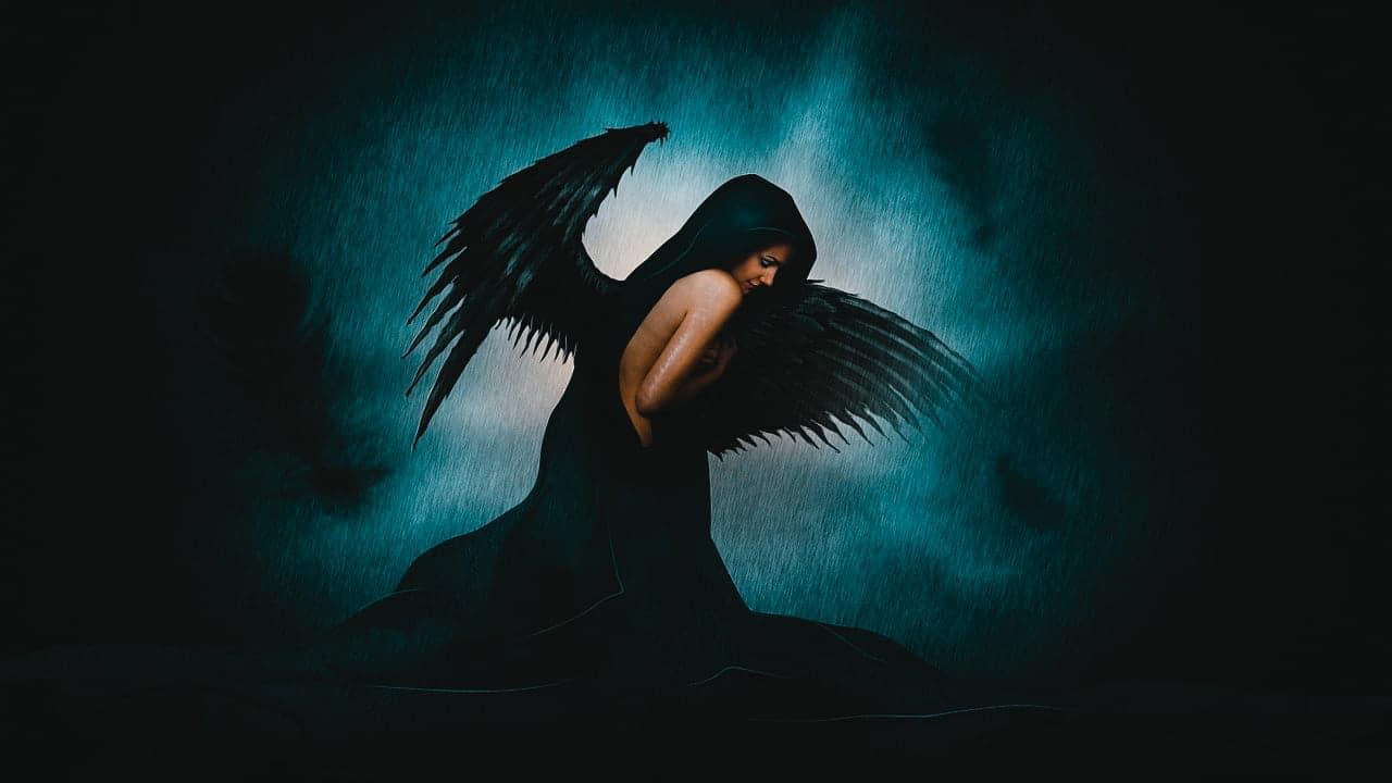 Image of a sad fallen angel who needs soul retrieval