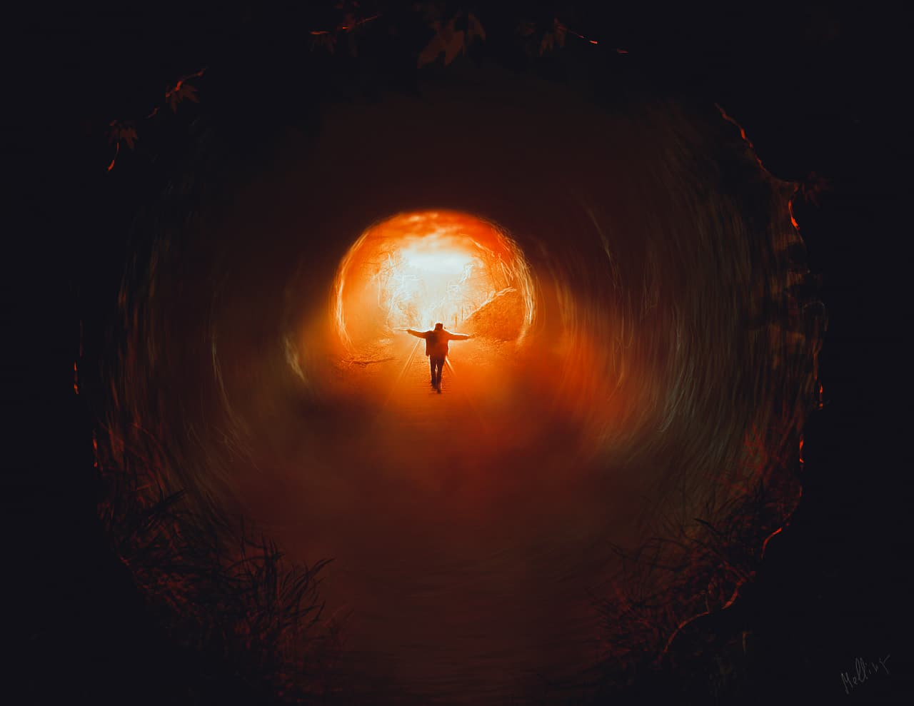 Image of a man walking through a tunnel to retrieve his soul