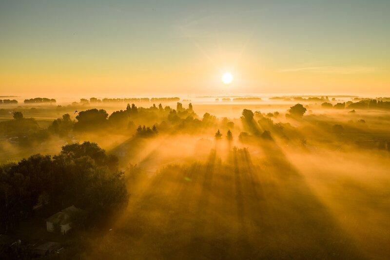 Image of a beautiful relaxing yellow sunrise