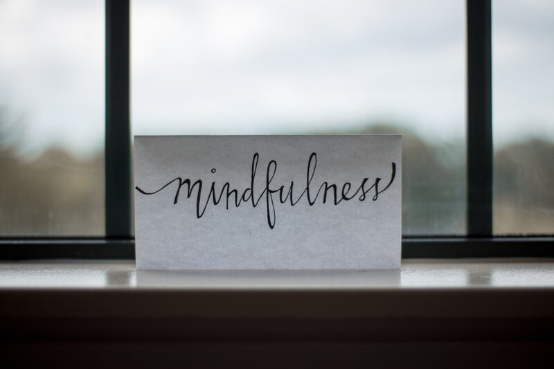 Image of a card that says mindfulness