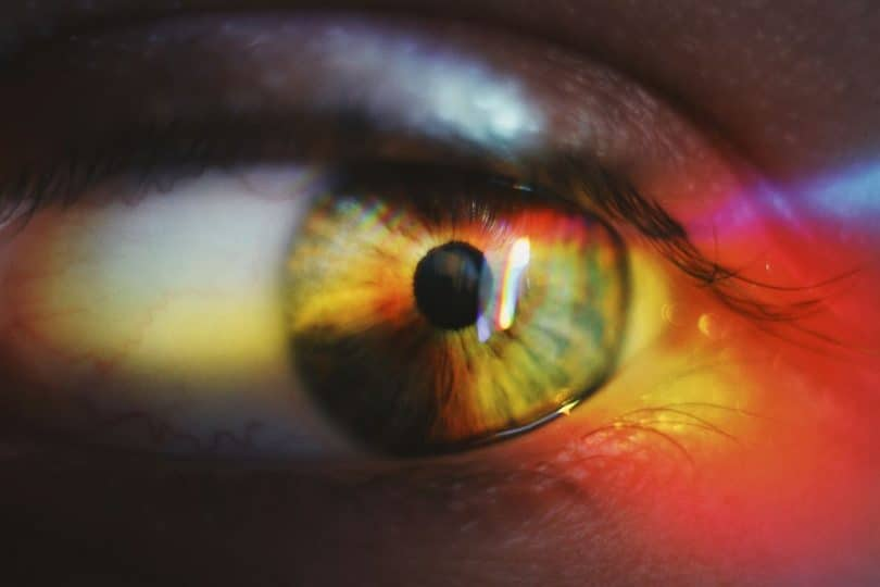 Image of a rainbow colored eye symbolic of intuition