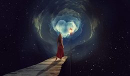 Image of a woman walking towards her destiny and leaving behind fate