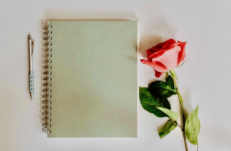 Image of a journal with a pink rose next to it