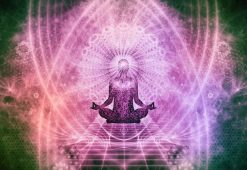 Image of a meditating person experiencing wholeness and oneness