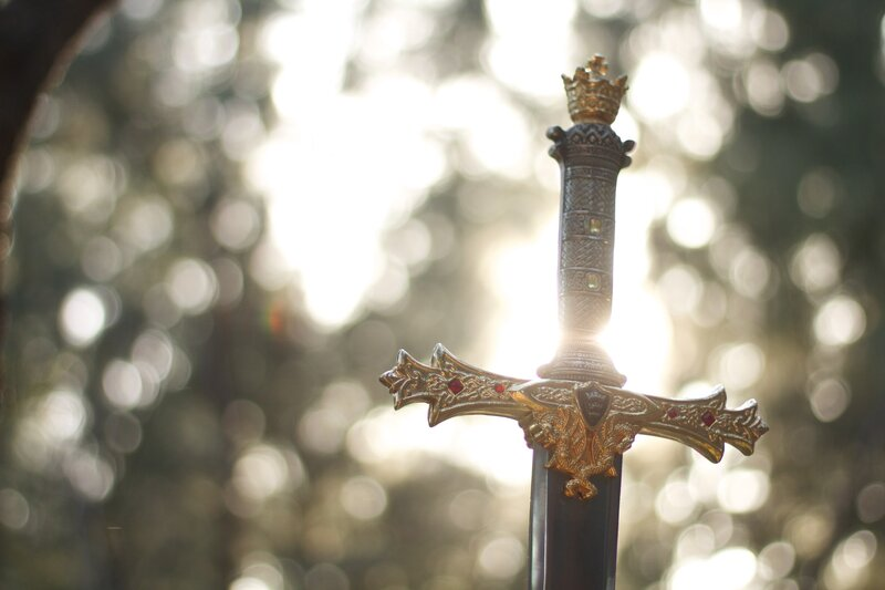Image of a sword in the forest symbolic of discernment
