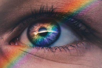 Image of a rainbow eye symbolizing spiritual awakening