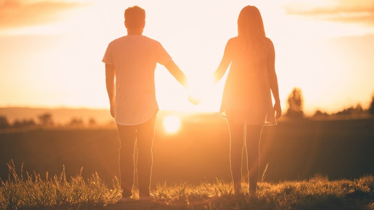 Image of two twin flames holding hands at sunset