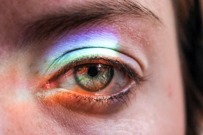 Image of a rainbow reflected over a woman's eye