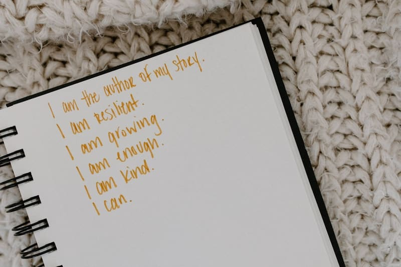 Image of a notebook with positive affirmations