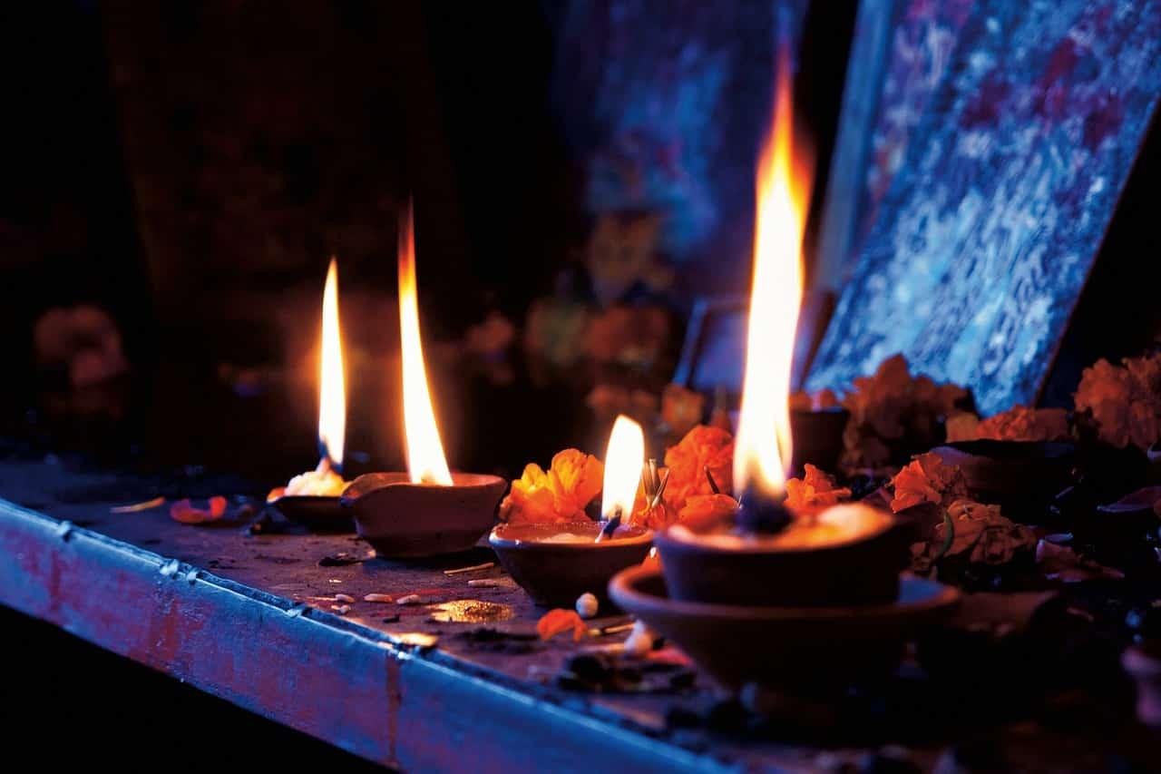 Candles on a meditation altar image