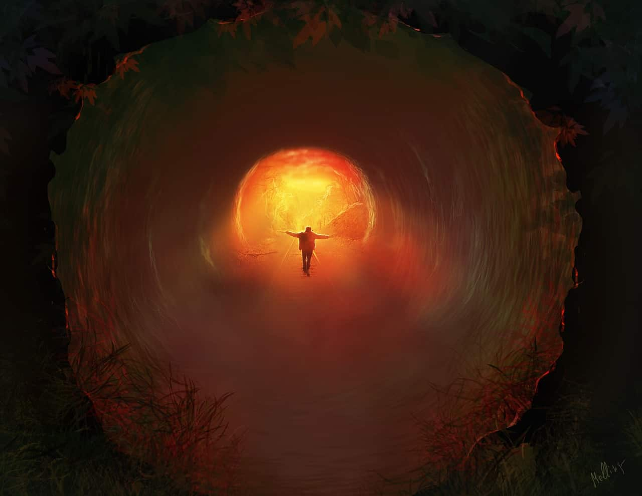 Image of a man walking through inner work tunnel