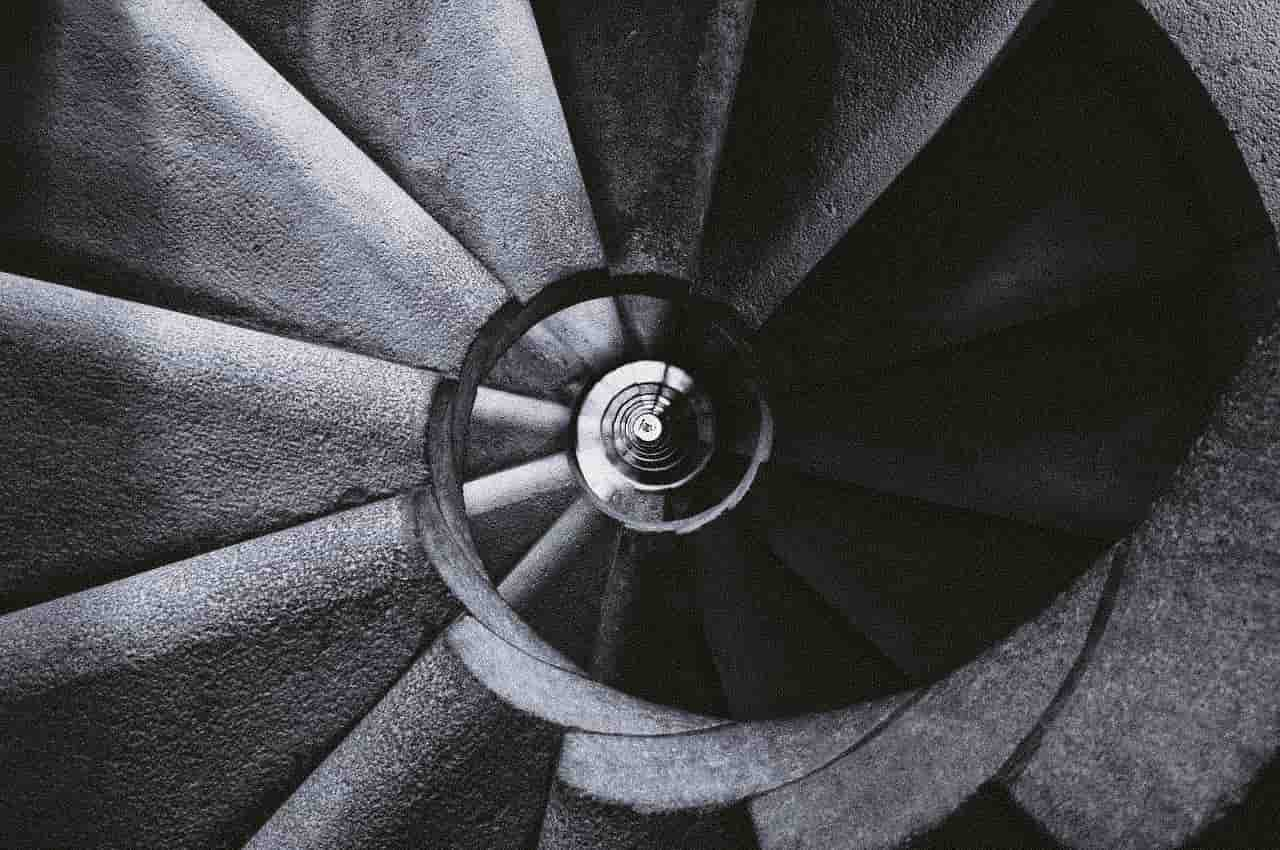 Image of spiral staircase symbolizing inner work