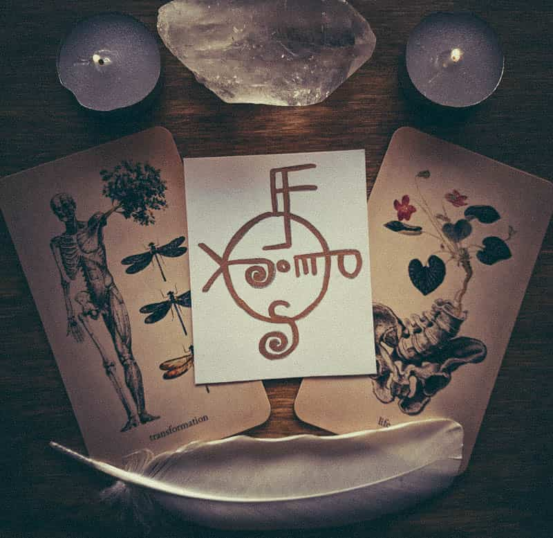 Image of a sigil on a spiritual altar