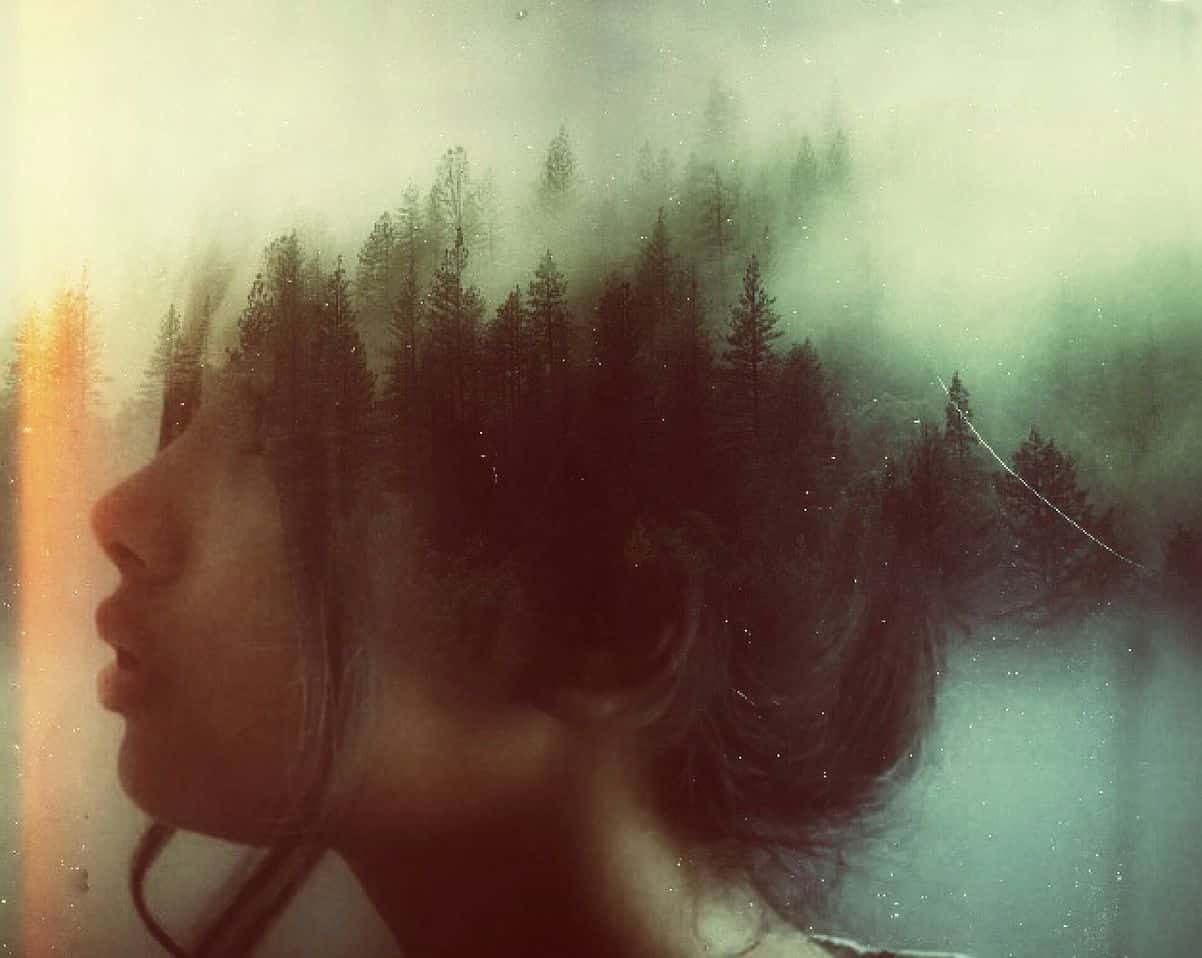 Image of a woman with a forest in her mind
