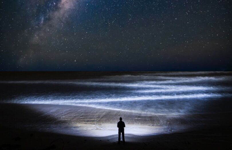 Image of a lone person standing on a beach wondering about how to find yourself