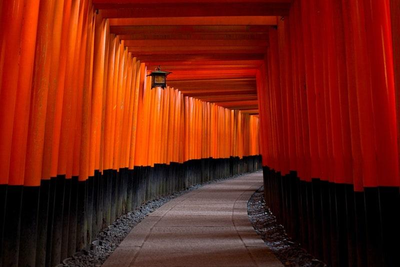 Image of beautiful red zen pathway