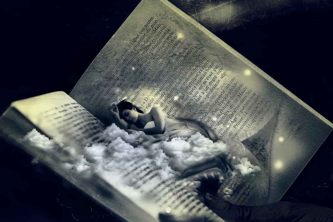 Image of a woman in a surreal book lucid dreaming