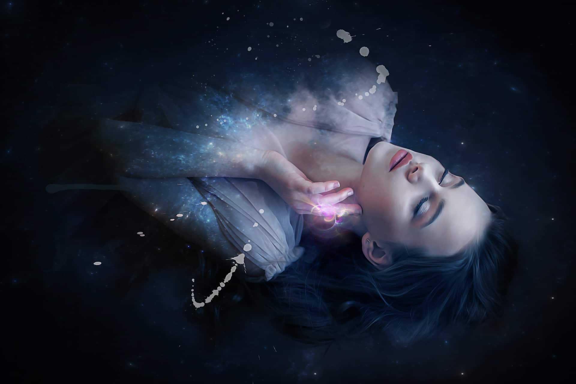 Image of a lucid dreaming woman in water