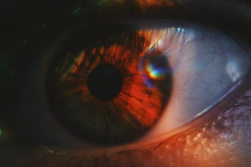 Image of a fearful eye symbolic of the spiritual emergency
