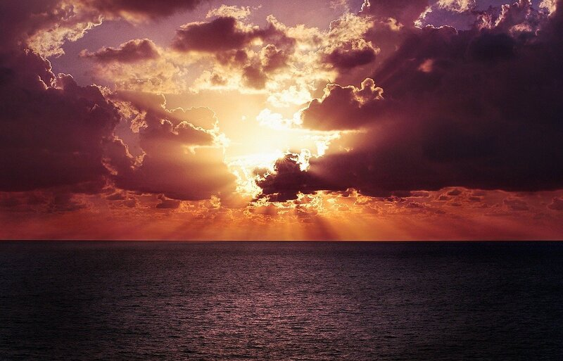 Image of a beautiful sunset over the ocean