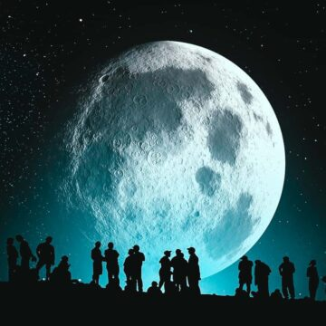 Image of a moon and silhouettes of people representing the internal family