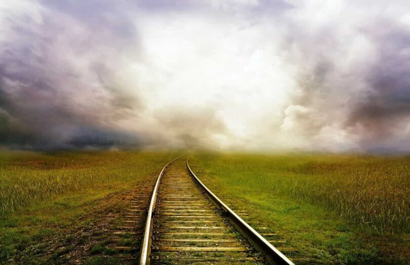 Image of a train track symbolic of the spiritual path