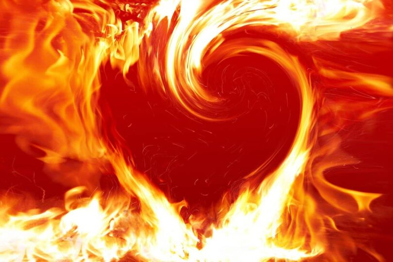 Image of a ball of heart-shaped fire symbolic of spiritual transformation
