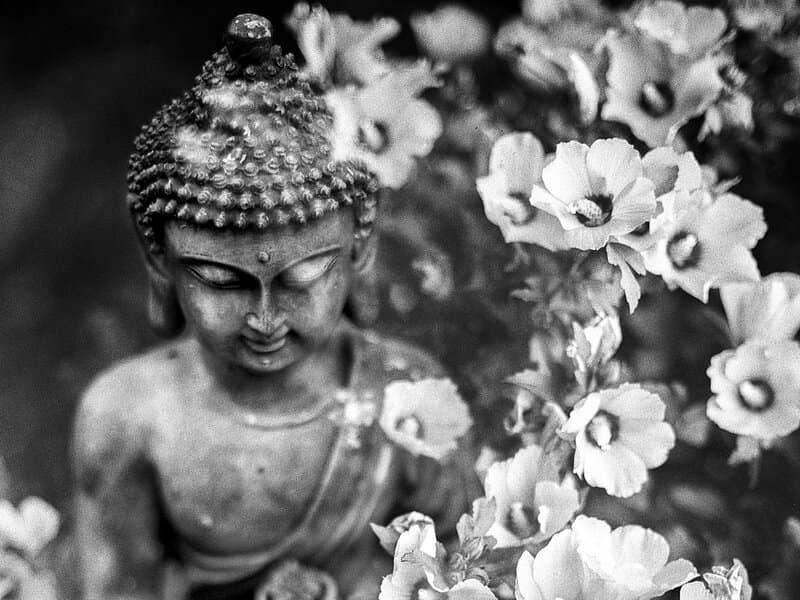 Image of a bodhisattva and flowers