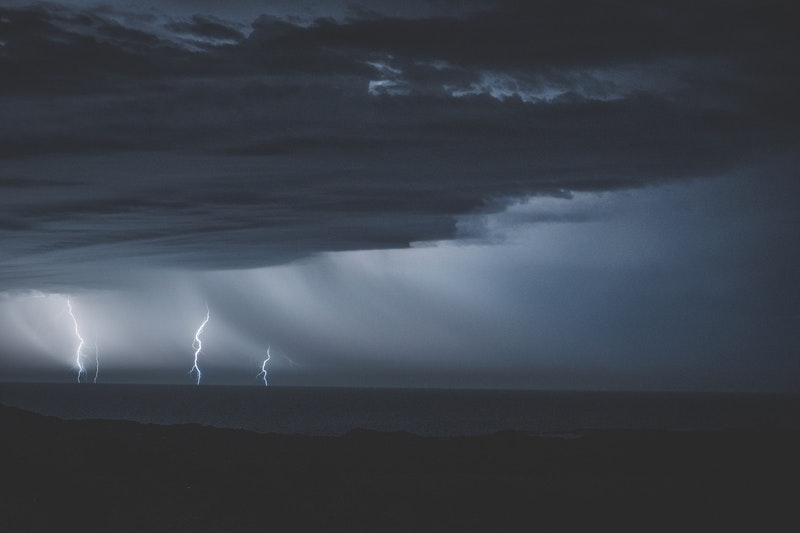 Image of a storm and lightning in the grey sky