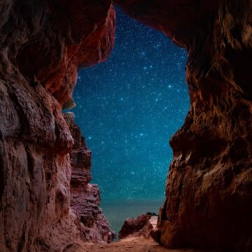 Image of a cave and the stars symbolic of deep listening