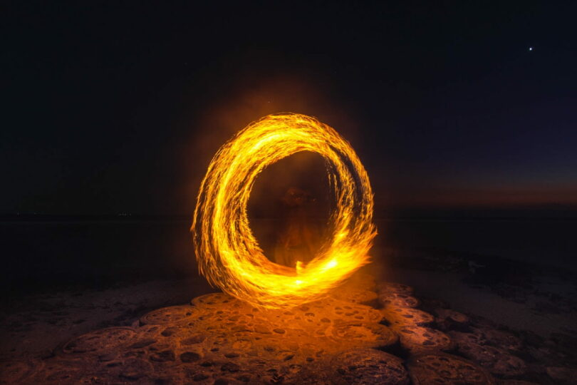 Image of a circle of fire that represents wholeness