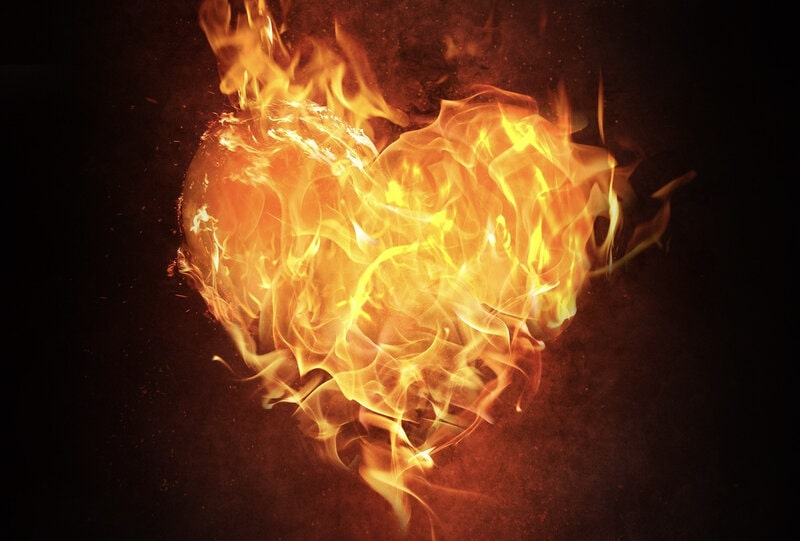 Image of a flaming heart