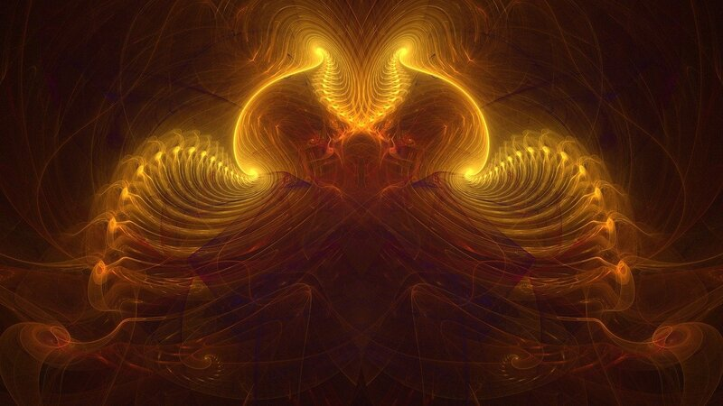 Image of a golden fractal representing an altered state of consciousness