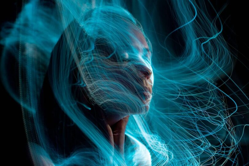 Image of a woman experiencing altered states of consciousness