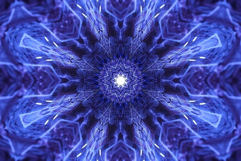 Image of a psychedelic blue fractal pattern